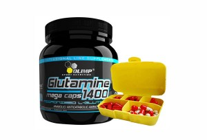 OLIMP - L Glutamine Mega Caps 1400mg + PILL BOX - 300 kaps + 1 szt.